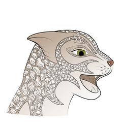 leopard head big gray cat vector image