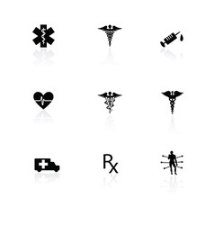 Medical icons black on white with reflections vector image
