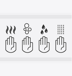 black isolated washing hands with water drops vector image
