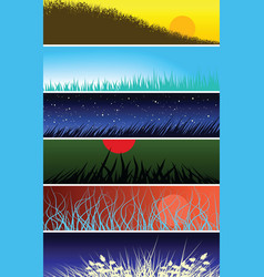 grassy banners vector image vector image