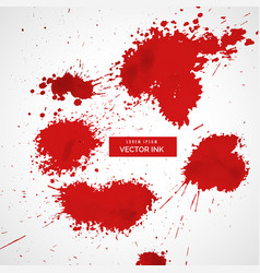 red blood splatter set vector image