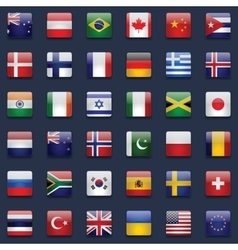 World flags icon set vector