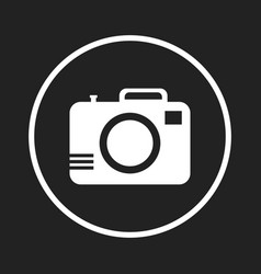 Camera icon on black background flat vector