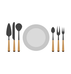 cutlery set fork spoon knife isolated kitchen vector image