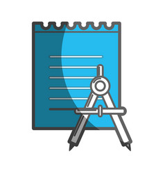 Peper notebook with compass study icon vector