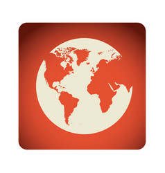 red emblem earth planet icon vector image