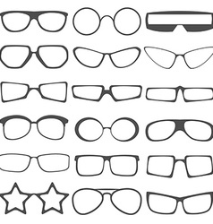 Set of the different sun glasses silhouettes vector image