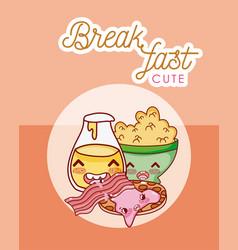 cute breakfast kawaii cartoon vector image