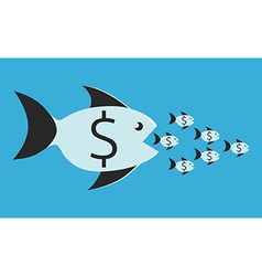 Fish eating small ones vector image vector image