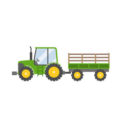 green tractor with trailer for farming icon vector image vector image