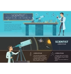 Science colorful horizontal banners vector