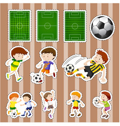 sticker design for soccer players and fields vector image
