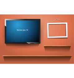 tv on wall with wood shelf vector image vector image