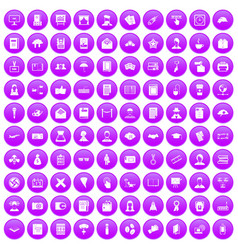 100 writer icons set purple vector