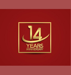 14 years anniversary with square and swoosh vector