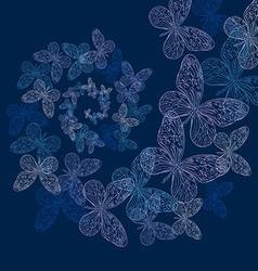 a spiral of butterflies vector image