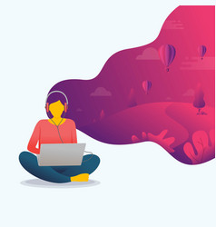 A women is using laptop with her imagination vector