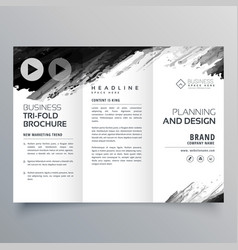 Abstract black ink trifold presentation template vector