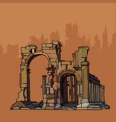 Ancient crumbling arches of stone with columns vector