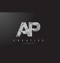 Ap a p letter logo with zebra lines texture vector