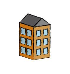 Apartaments building icon vector