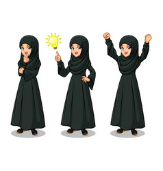 arab businesswoman in black dress getting ideas vector image