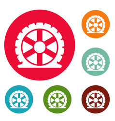 auto tire icons circle set vector image