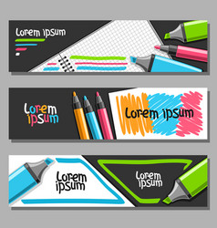 banners with colorful markers vector image