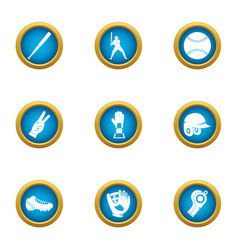 Baseball bead icons set flat style vector