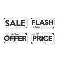 Black and white set sale banner layout price tag vector