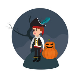 boy with pirate costume and pumpkin with tree vector image