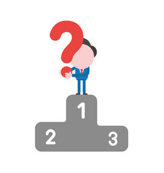 businessman character holding question mark on vector image