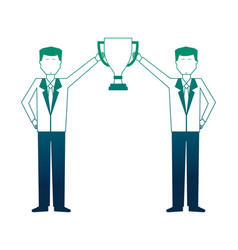 businessmen with trophy cup avatar character vector image
