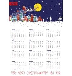 Calendar 2016Santa coming to the cityVertical vector