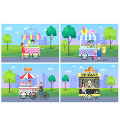 cheerful clients near street food shops in park vector image