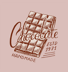 chocolate bar vintage badge or logo for t-shirts vector image