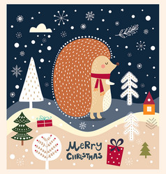 christmas with hedgehog vector image