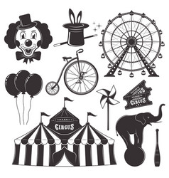 Circus and amusement park black objects vector
