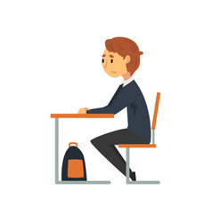 clever student sitting at desk in classroom side vector image
