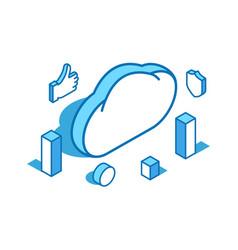 cloud blue line isometric web vector image