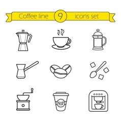 Coffee linear icons set vector