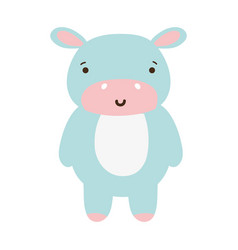 Colorful cute and happy hippopotamus wild animal vector