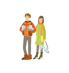 Couple Going To The Ice Ring Winter Sports vector