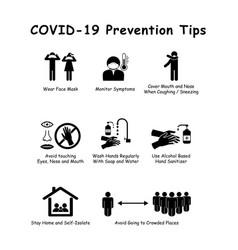 Covid19-19 prevention tips vector