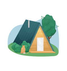 Cozy country triangular house made wood with a vector
