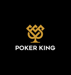 crown and ace spades to design poker logo vector image