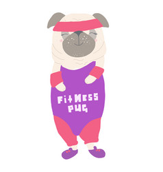cute dog pug in a tracksuit in style the vector image
