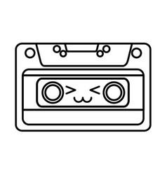Cute kawaii cartoon cassette vector