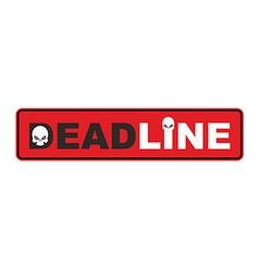 Deadline- end of period skull Sticker vector