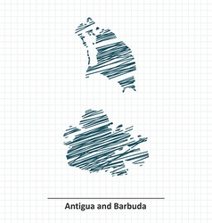 Doodle sketch of Antigua and Barbuda map vector